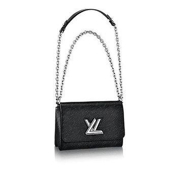 CREYDC0 Authentic Louis Vuitton Epi Leather Twist MM Handbag Article: M50282 Noir Made in France