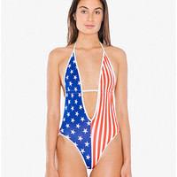 US Flag Plunge One-Piece Swimsuit | American Apparel
