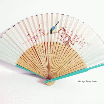 Vintage Japanese Hand Fan, Painted Paper, Punched Wood, Bird / Floral Motif