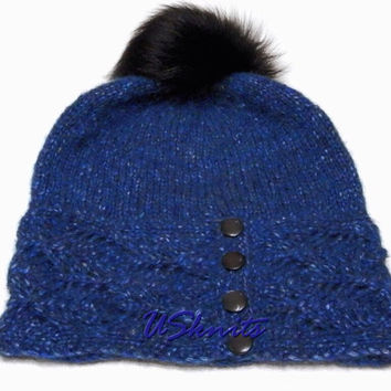 Hand knitted slouchy hat with fur pompom and buttons