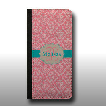 Pink damask pattern iphone 6s case name and initial iPhone 5s, personalized wallet case Samsung Galaxy S6, iPhone 4s Samsung Galaxy Note 5