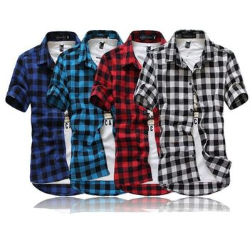 NEW Men's Plaid Casual Short Sleeve Down Collar Shirt Classic Button Down Tops