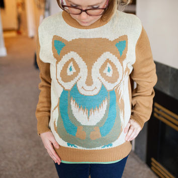 Vintage Raccoon Sweater, Ladies Raccoon Sweater, Women's Illustrated Raccoon Turquoise Sweater, Hipster Retro Pullover Animal Sweater