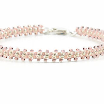 Layering Bracelet Beaded Bracelet Seed Bead Jewelry Chain Bracelet Rose Opal Beadwork Jewelry