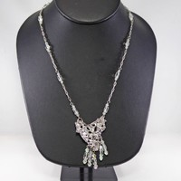 Brutalist Heart Pendant and Crystal Bead Chain Necklace, Silver Tone Signed MC, Unique Heart Clasp, Baguette Rhinestones, Vintage 1990s