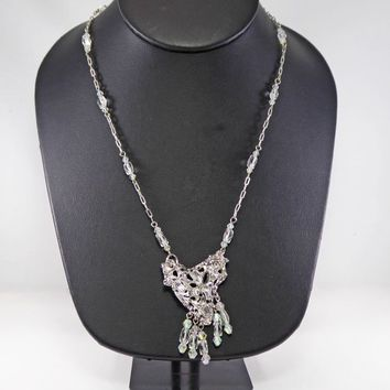 Brutalist Heart Pendant and Crystal Bead Chain Necklace a7495fc25