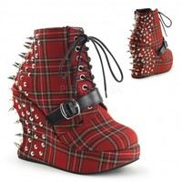 Bravo Spiked Red Plaid Wedge Ankle Boots - Demonia Gothic Shoes & Boots from ShoeOodles
