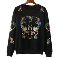 Fleece Sweatshirt with Floral Embroidery