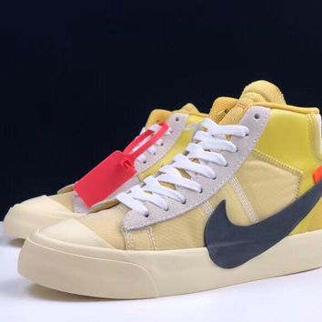 """[ Free  Shipping ]Off-White x Nike Blazer Mid """"All Hallows Eve"""" AA3832-700 Basketball Shoes"""