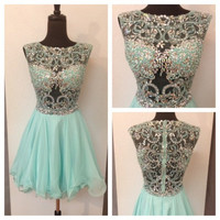 Homecoming Dress,Elegant Green Beaded Chiffon Short Prom Dress