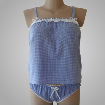 Lingerie Babydoll & Panty set with Blue Pattern Handmade