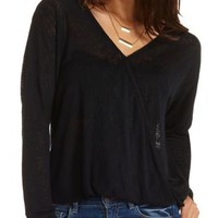 Twisted Hem High-Low Wrap Top by Charlotte Russe