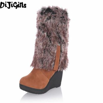 2018 Hot Women boots winter heels knee high boots warm cotton padded shoes women high wedges suede leather snow boots ba45