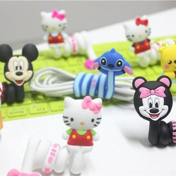 10pcs Hello Kitty Silicone Cable Winder Clip Earphone Headphone Winder Earbud Cable Cord Wrap Organizer Holder For iPhone6 6s 7
