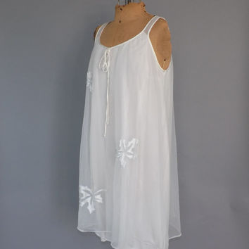 Vintage Retro 1960s White Teddy Sain Leaf Semi Sheer Lingerie Twiggy Dress Sexy Mod Nightgown Small Medium Babydoll Short Nightie