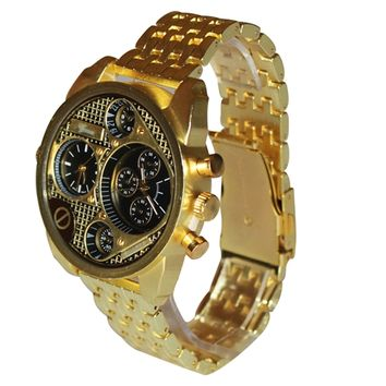 Dual Time Gold Metal Mens Geneva Watch Diesel Cologne