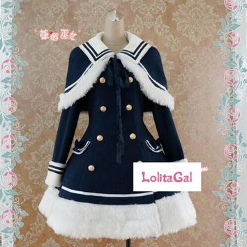 CMLOLI Classis Sailor Uniform Inspired Navy Blue Long Sleeve Double Breasted Metal Button Wool Winter Lolita Coat Free Shipping