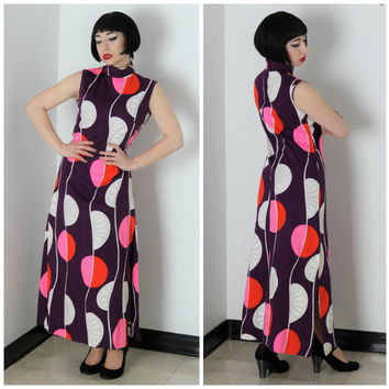 60s Maxi Mandarin Collar Shift Dress w Side Slits // Mod Geometric Pop Art Graphic Print, Purple, Pink, White // Mad Men, Peggy Moffitt M/L