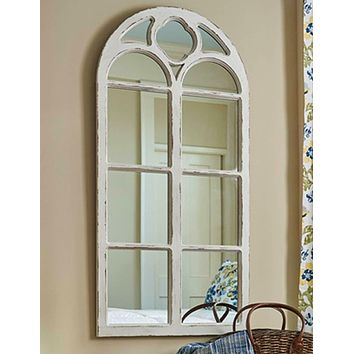 White Distressed Window Mirror