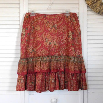 Paisley Skirt Boho Clothes Vintage Clothing Ruffle Skirt Med Length Festival Clothing Cowgirl Skirt Summer Clothes Bohemian Cowgirl Hippie