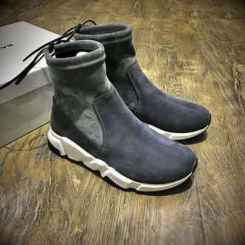 Sale Balenciaga Speed HIGH Scrub Ankle Boots Sport Shoes Grey White Color