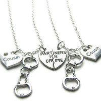 2 Partners In Crime Cousins Handcuff Necklaces, Best Friends Necklaces, Sisters Necklaces, Handcuff Necklaces, Friends Necklaces