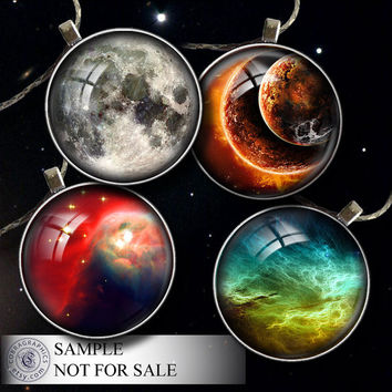 Space - 20mm, 18mm, 16mm, 14mm, 12mm circles - Digital Collage Sheets CG-592n - Supplies for Jewelry, Crafts - Printable Digital Downloads