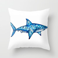 Shark Throw Pillow by Kate Fitzpatrick