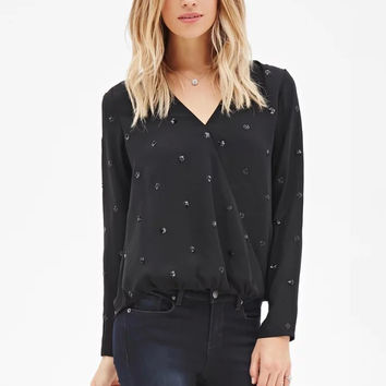 Sequined Embroidery V-Neck Long Sleeve Blouse