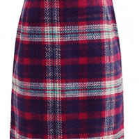Classical Plaid Zip Side High Waist Tube Midi Tweed Skirt