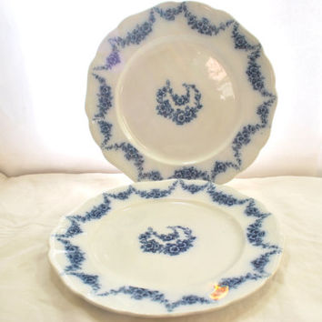 Antique Blue Flow Plates with Flowers Garland by Heumann 1915 England Porcelain