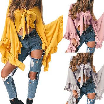 New Fashion Women Casual Flare Sleeve Long Sleeve Solid Tops Bandage Bowknot Loose Top T Shirt Halter Beach Clothes