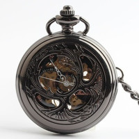 Black carved hollow clamshell mechanical pocket watch  (Color: Black) = 1753732996