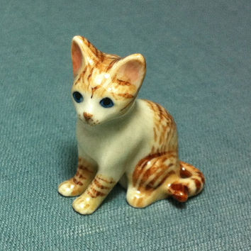Miniature Ceramic Cat Kitty Kitten Pet Animal Cute Little Tiny Small White Brown Figurine Statue Decoration Collectible Hand Painted Figure