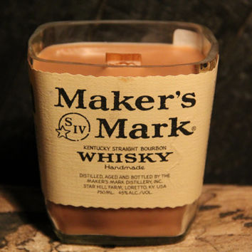Upcycled Bourbon Candle - Makers Mark Bottle Wood Wick Upcycled 22oz Soy Candle Recycled 750ml Kentucky Whiskey Bottle