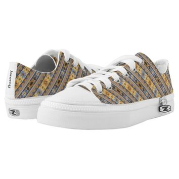 Southwest Design Gold Blue Gray Printed Shoes