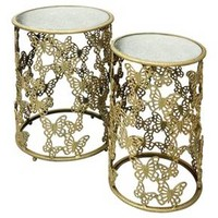 Set of 2 Round Nesting Tables In Antique Gold with Butterfly Motif - Antique Gold - Stylecraft
