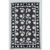 Twin Black and White Psychedelic Celestial Sun Moon Tapestry Wall Hanging Bedspread on RoyalFurnish.com