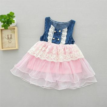 Cute Children Lace Hollow Out Tulle Denim Dress Kids Jeans Dresses for Girls Casual Pageant Wedding and Party Clothing 18M-5Yrs