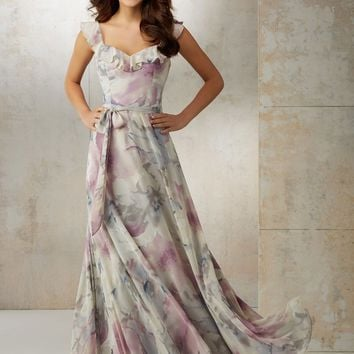 Mori Lee Bridesmaids 21520 Floor Length Print + Chiffon Bridesmaids Dress
