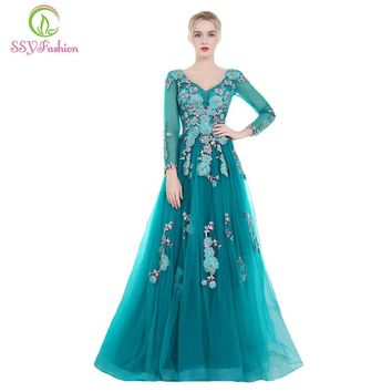 New Banquet Evening Dress Elegant Peacock Blue Long Sleeved Lace Flower Sweep Train Prom Formal Party Gown