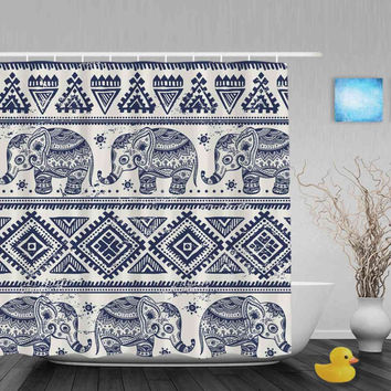 modern patterned african designed elephant shower curtain