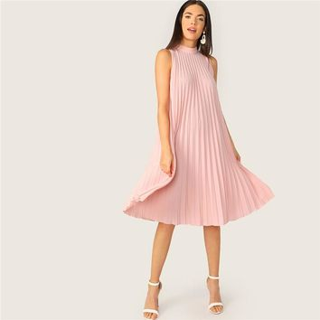 Mock Neck Cut-out Tie Back Pleated Tunic Party Midi Dress Women Sleeveless Shift Straight Solid Cute Dresses