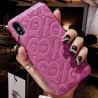 Burberry Fashion New More Letter Print Protective Cover Phone Case Purple