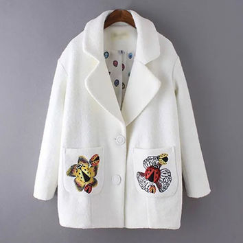 White Cartoon Print At Pocket Coat