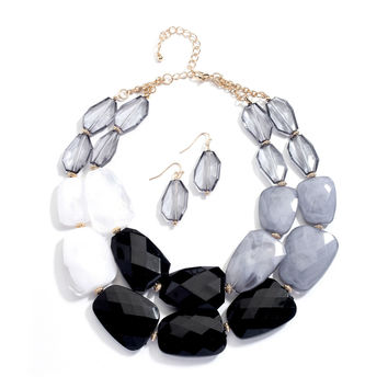 Black Chunky Statement Necklace & Earrings Set for Prom or Homecoming