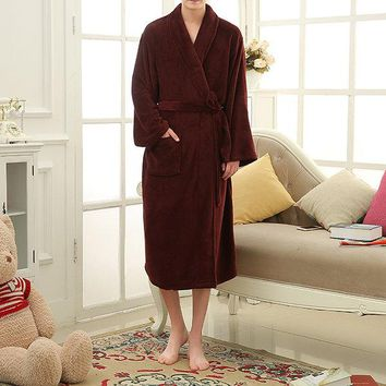 Winter Thicken Plus Size Flannel Long Sleeves Home Loose Sleepwear Robes For Men