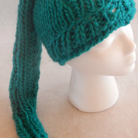 Green chunky winter stocking hat