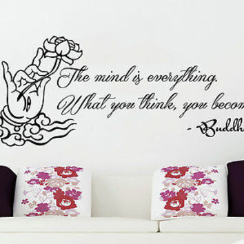Wall Decals Quotes Lotus Flower Yoga Buddha The mind is everything Decor C45