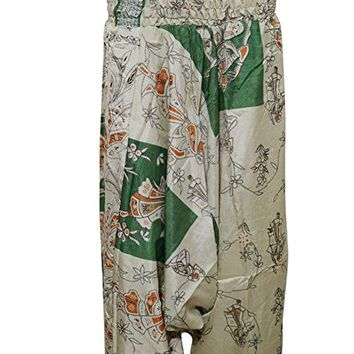 Womens Harem Pants Beige Green Printed Hippy Yoga Jumpsuit Apparel